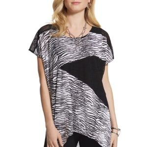 Chico's Zebra B/W Print Sheer Tunic Top - NWT